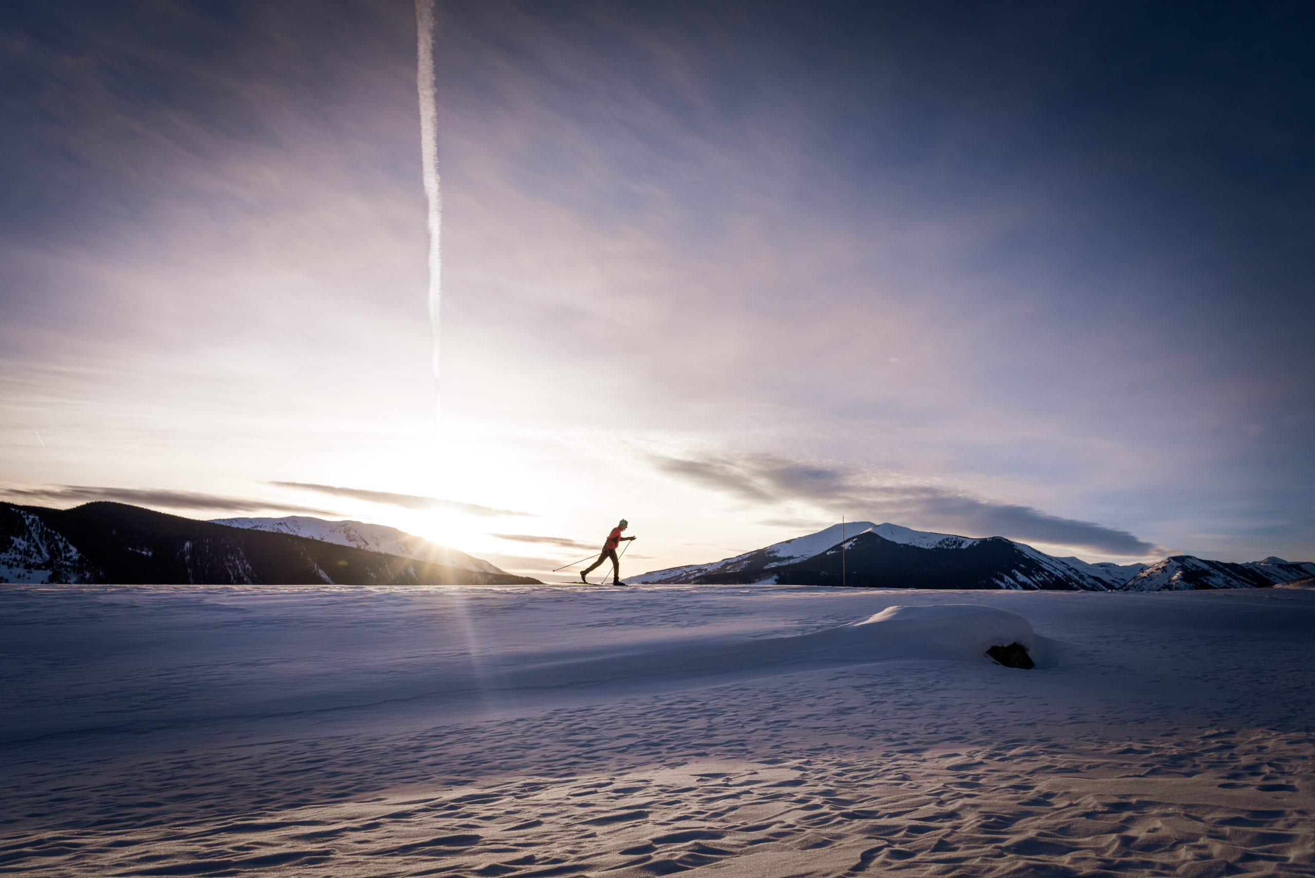 Solo Nordic Skier in Crested Butte